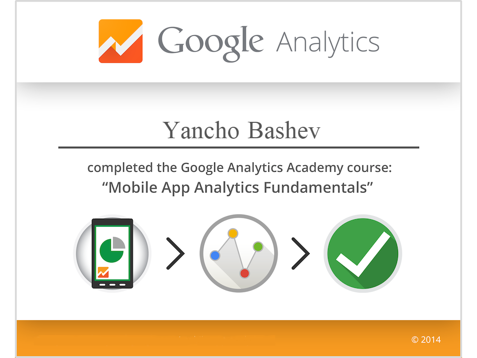 Mobile App Analytics Fundamentals Certificate